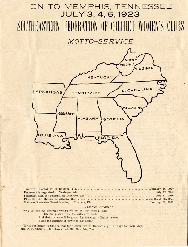 Flyer: On to Memphis, Tennessee.  July 3,4,5, 1923. Southeastern Federation of Colored Women's Clubs.