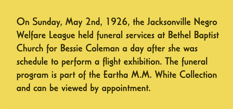 On Sunday, May 2nd, 1926, the Jacksonville Negro Welfare League held a service at Bethel Baptist Church in honor of Coleman.