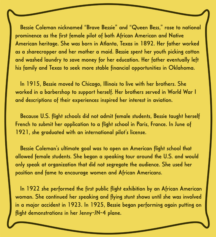 Bessie's Early Life Information Card