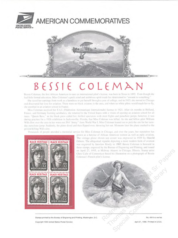 Bessie Coleman, Black Heritage Stamp Series.