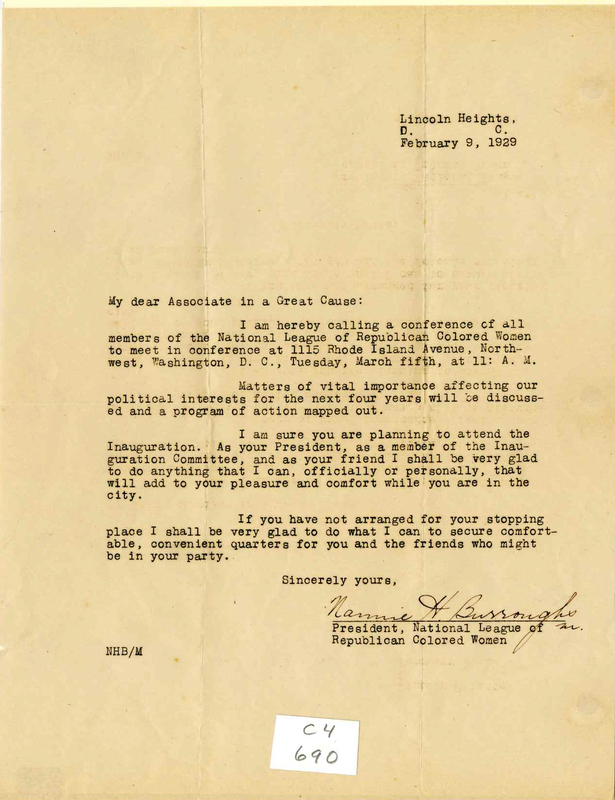Letter: To Eartha White, from Nannie H. Burroughs