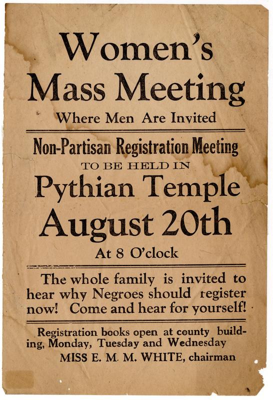 Leaflet: Women's Mass Meeting for Voter Registration