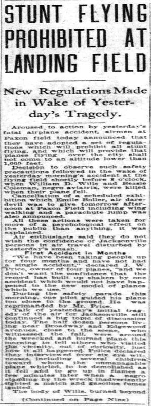 Stunt Flying Prohibited article from Jacksonville Journal