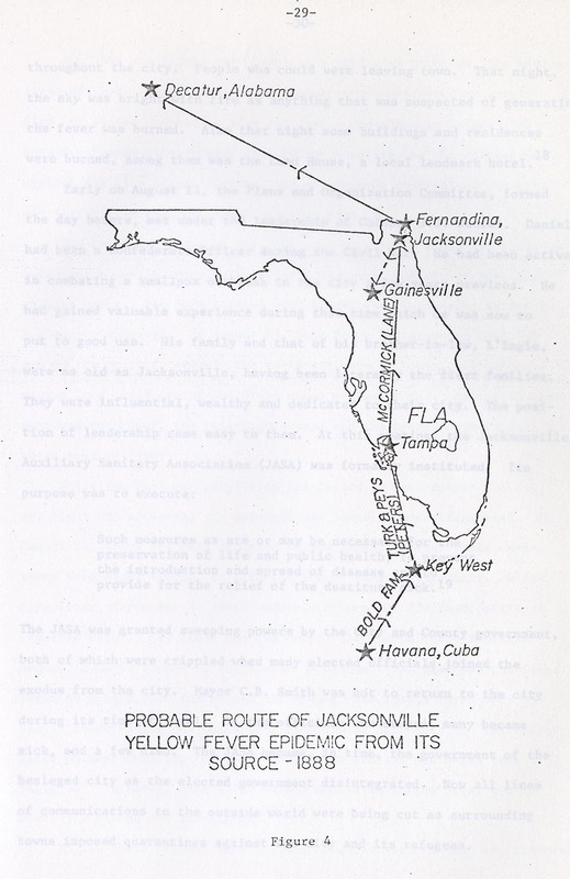 This map has a probable route of Yellow Fever in Florida