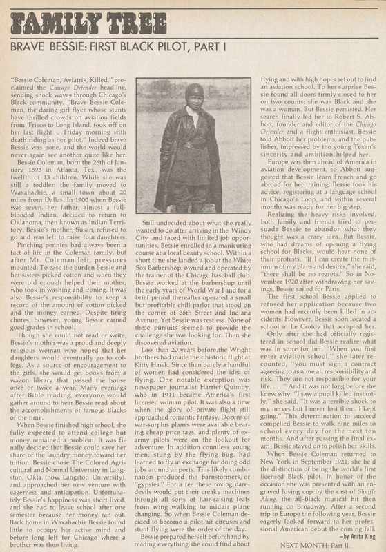 Family Tree - Brave Bessie: First Black Pilot, Part 1