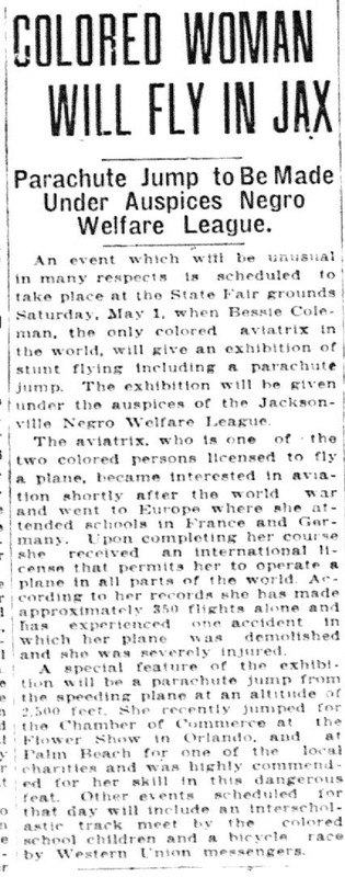 Colored Woman Will Fly in Jax.  Parachute jump to be made under auspices of Negro Welfare League
