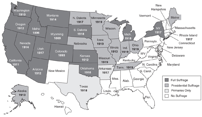 Women voting rights map