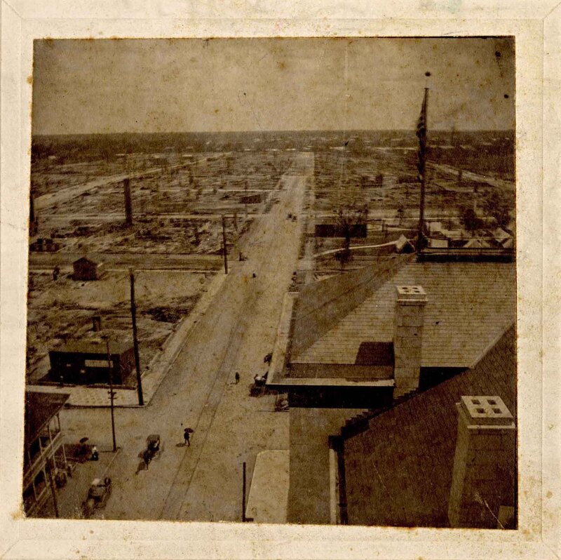 Burned Aerial of Jacksonville, Corner of Forsyth and Hogan