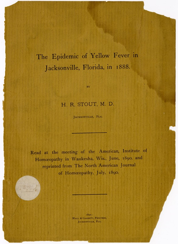 The Epidemic of Yellow Fever in Jacksonville, Florida, in 1888